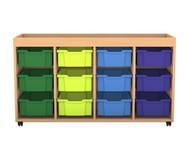 Flexeo Regal PRO mit 4 Reihen, 12 großen Boxen und Aufkantung