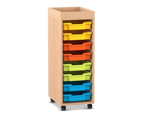 Flexeo Regal PRO mit 1 Reihe 8 kleinen Boxen und Aufkantung