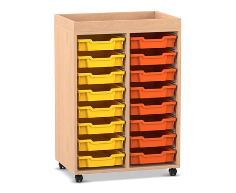 Flexeo Regal PRO mit 2 Reihen 16 kleinen Boxen und Aufkantung