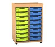 Flexeo Regal PRO mit 2 Reihen, 16 kleinen Boxen und Aufkantung