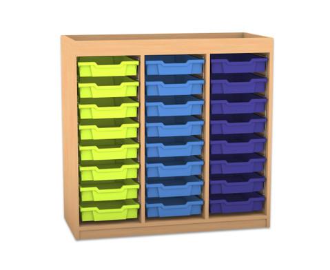 Flexeo Regal PRO mit 3 Reihen 24 kleinen Boxen und Aufkantung