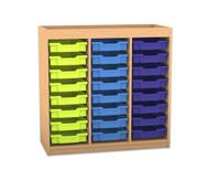 Flexeo Regal PRO mit 3 Reihen, 24 kleinen Boxen und Aufkantung