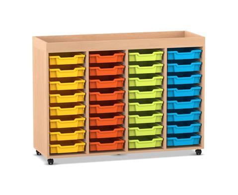 Flexeo Regal PRO mit 4 Reihen 32 Boxen Gr S und Aufkantung
