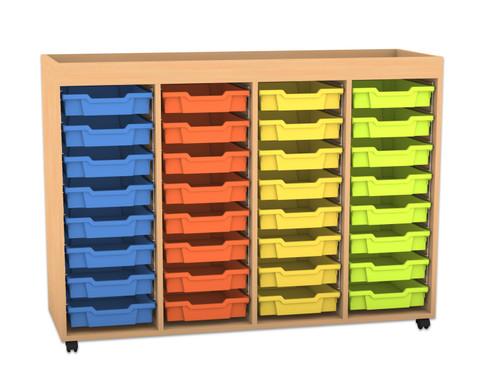 Flexeo Regal PRO mit 4 Reihen 32 kleinen Boxen und Aufkantung
