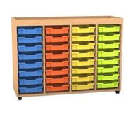 Flexeo Regal PRO mit 4 Reihen, 32 kleinen Boxen und Aufkantung