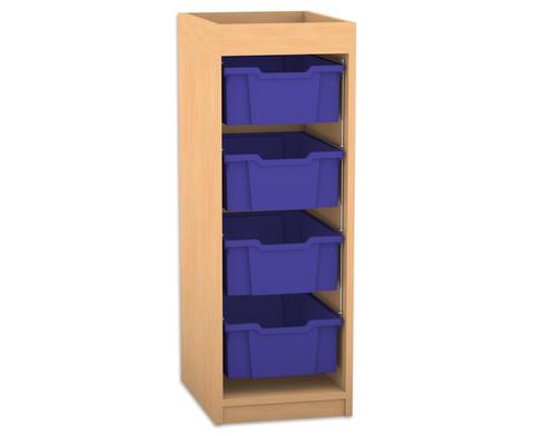 Flexeo Regal PRO mit 1 Reihe 4 grossen Boxen und Aufkantung