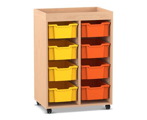 Flexeo Regal PRO mit 2 Reihen 8 grossen Boxen und Aufkantung