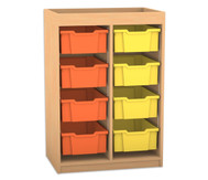 Flexeo Regal PRO mit 2 Reihen, 8 großen Boxen und Aufkantung
