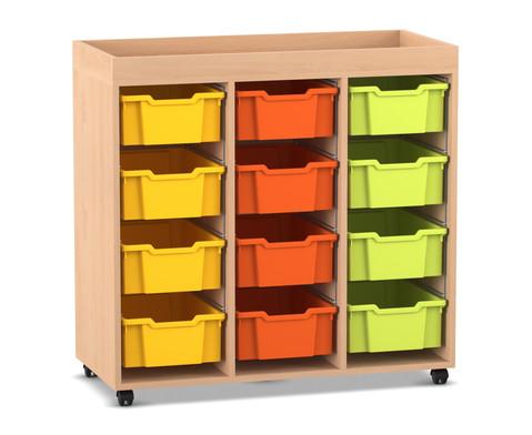 Flexeo Regal PRO mit 3 Reihen 12 grossen Boxen und Aufkantung