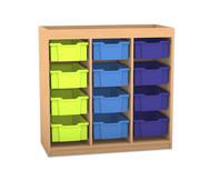 Flexeo Regal PRO mit 3 Reihen, 12 großen Boxen und Aufkantung