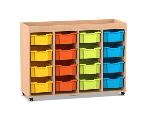 Flexeo Regal PRO mit 4 Reihen 16 grossen Boxen und Aufkantung