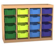 Flexeo Regal PRO mit 4 Reihen, 16 großen Boxen und Aufkantung