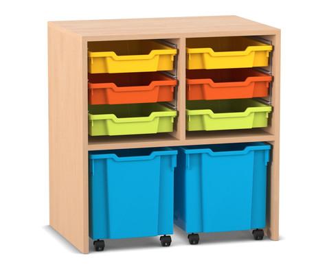 Flexeo Regal PRO mit 2 Reihen 6 Boxen Gr S und 2 fahrbaren Boxen