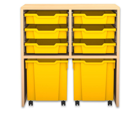 Flexeo Regal PRO mit 2 Reihen 6 kleinen und 2 fahrbaren Boxen