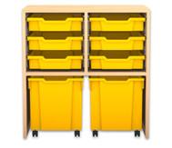 Flexeo Regal PRO mit 2 Reihen, 6 kleinen und 2 fahrbaren Boxen