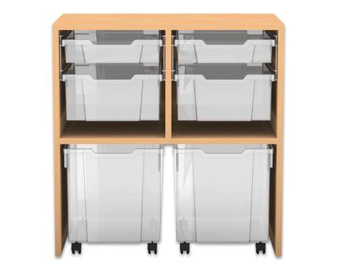 Flexeo Regal PRO mit 2 Reihen 4 gemischten und 2 fahrbaren Boxen
