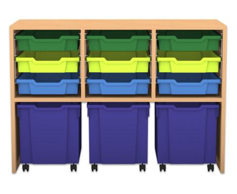 Flexeo Regal PRO mit 3 Reihen 9 kleinen und 3 fahrbaren Boxen