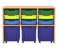Flexeo Regal PRO mit 3 Reihen, 9 kleinen und 3 fahrbaren Boxen