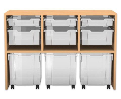Flexeo Regal PRO mit 3 Reihen 3 S-Boxen 3 M-Boxen und 3 fahrbaren XL-Boxen