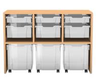 Flexeo Regal PRO mit 3 Reihen, 6 gemischten und 2 fahrbaren Boxen