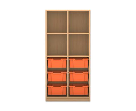 Flexeo Regal PRO mit 2 Reihen 4 Faechern und 6 grossen Boxen unten-1