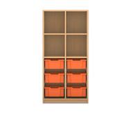 Flexeo Regal PRO mit 2 Reihen, 4 Fächern und 6 großen Boxen unten