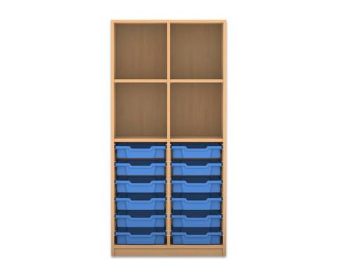 Flexeo Regal PRO 2 Reihen 12 kleine Boxen oben 2 Fachboeden HxBxT 1439 x 731 x 48 cm