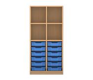 Flexeo Regal PRO, 2 Reihen, 12 kleine Boxen, oben 2 Fachböden, HxBxT: 143,9 x 73,1 x 48 cm