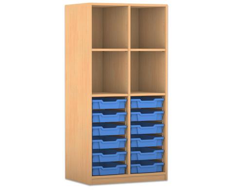 Flexeo Regal PRO 2 Reihen 12 kleine Boxen oben 2 Fachboeden HxBxT 1439 x 731 x 48 cm-2