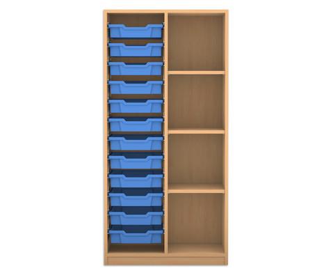 Flexeo Regal PRO 2 Reihen 12 kleine Boxen links rechts 3 Fachboeden HxBxT 1439 x 731 x 48 cm