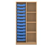 Flexeo Regal PRO, 2 Reihen, 12 kleine Boxen links rechts 3 Fachböden, HxBxT: 143,9 x 73,1 x 48 cm
