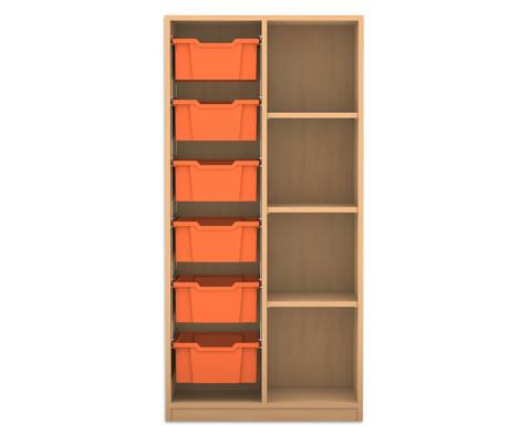 Flexeo Regal PRO 2 Reihen 6 grosse Boxen links rechts 3 Fachboeden HxBxT 1439 x 731 x 48 cm