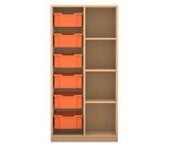 Flexeo Regal PRO, 2 Reihen, 6 große Boxen links rechts 3 Fachböden, HxBxT: 143,9 x 73,1 x 48 cm