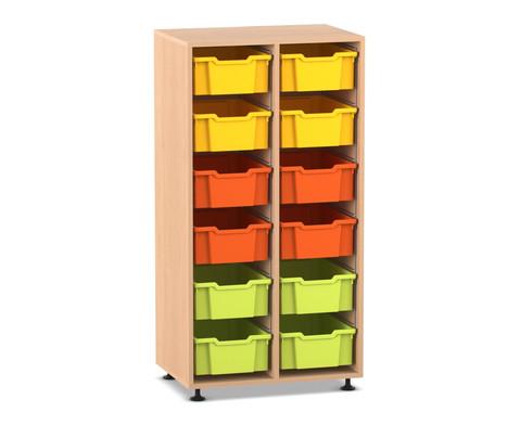 Flexeo Regal PRO 2 Reihen 12 grosse Boxen HxBxT 1439x 31x48 cm