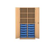 Flexeo Regalschrank PRO, 2 Reihen, 12 kleine Boxen, oben 4 Fachböden, HxBxT: 143,9 x 73,1 x 50 cm