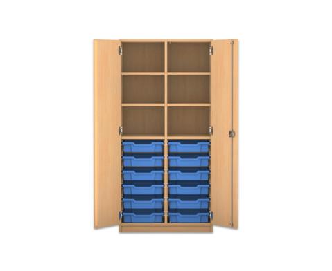 Flexeo Regalschrank PRO mit 2 Reihen 6 Faechern und 12 kleinen Boxen-1