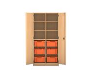Flexeo Regalschrank PRO, 2 Reihen, 6 große Boxen, oben 4 Fachböden, HxBxT: 143,9 x 73,1 x 50 cm