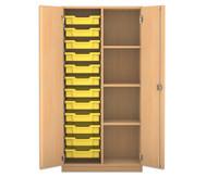 Flexeo Regalschrank PRO mit 2 Reihen, 4 Fächern und 12 kleinen Boxen links