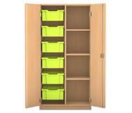 Flexeo Regalschrank PRO mit 2 Reihen, 4 Fächern und 6 große Boxen