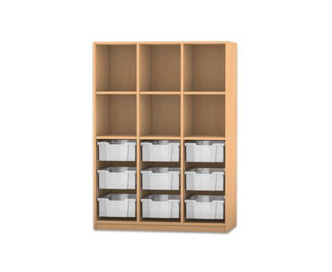 Flexeo Regal PRO 3 Reihen 9 grosse Boxen oben 3 Fachboeden HxBxT 1439 x 1085 x 48 cm