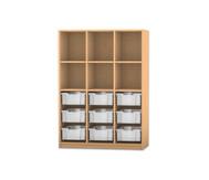 Flexeo Regal PRO, 3 Reihen, 9 große Boxen oben 3 Fachböden, HxBxT: 143,9 x 108,5 x 48 cm