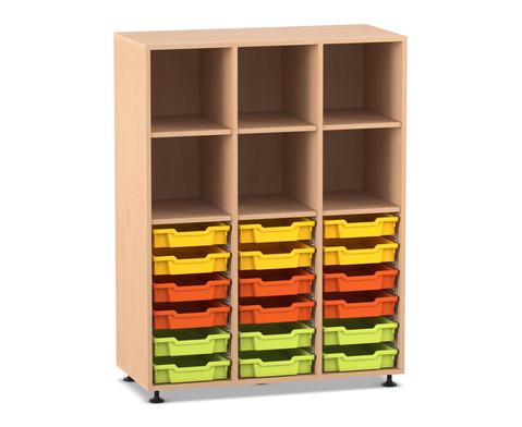 Flexeo Regal PRO 3 Reihen 18 kleine Boxen oben 3 Fachboeden