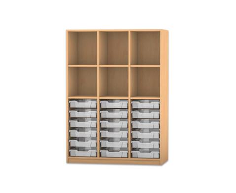 Flexeo Regal PRO 3 Reihen 18 kleine Boxen oben 3 Fachboeden HxBxT 1439 x 1085 x 48 cm-1