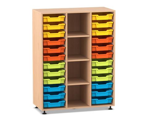 Flexeo Regal PRO 3 Reihen 24 kleine Boxen mittig 3 Fachboeden