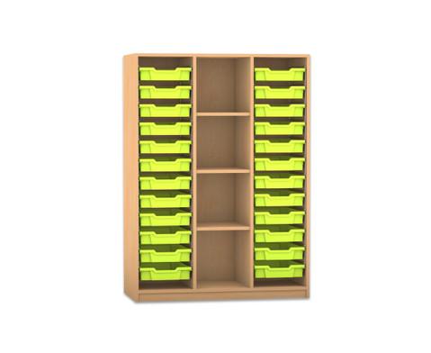 Flexeo Regal PRO 3 Reihen 24 kleine Boxen mittig 3 Fachboeden HxBxT 1439 x 1085 x 48 cm
