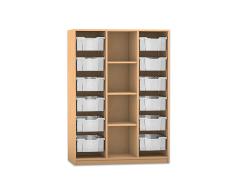 Flexeo Regal PRO 3 Reihen 12 grosse Boxen mittig 3 Fachboeden