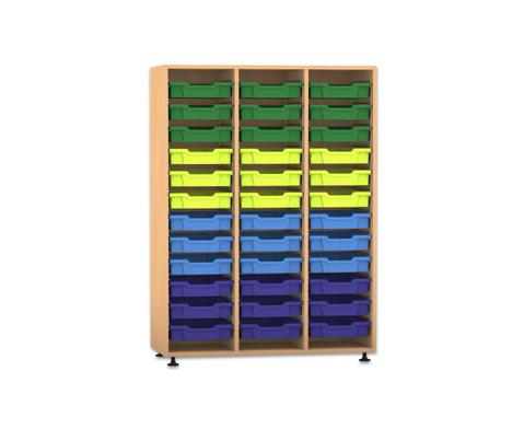 Flexeo Regal PRO 3 Reihen 36 kleine Boxen HxBxT 1439 x 1085 x 48 cm-1