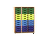 Flexeo Regal PRO, 3 Reihen, 36 kleine Boxen HxBxT: 143,9 x 108,5 x 48 cm