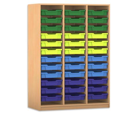 Flexeo Regal PRO 3 Reihen 36 kleine Boxen HxBxT 1439 x 1085 x 48 cm-2