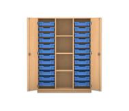 Flexeo Regalschrank PRO, 3 Reihen, 24 kleine Boxen, mittig 3 Fachböden, HxBxT: 143,9 x 108,5 x 50 cm